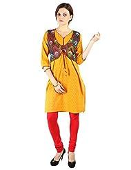 Varenya Women's Cotton Kurta [Yellow]