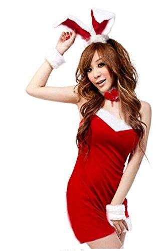 Sexy, colore: rosso senza maniche da donna, motivo: Coniglio di Natale-Santa Claus Costumes-Costume di Carnevale da inverno, taglia unica 8 10 12