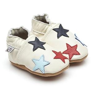 Suaves Zapatos De Cuero Del Bebé Poco Estrellas Crema 12-18 meses