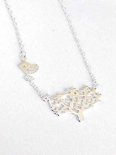 TREE-and-SPARROW-Necklace-Sterling-Silver-Nature-Pendant-Bird-necklace-Necklace