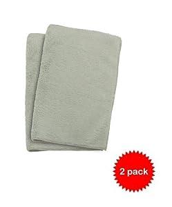 Plush Microfiber Wash Cloth 12x12, Sage (2 count total)