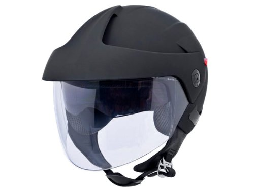 DOT Approved Motorcycle Helmet 3/4 Open Face Flat Matte Black Dual Smoke Visor EVOS Sport Street Bike Cruiser Scooter Snowmobile ATV Helmet - Medium