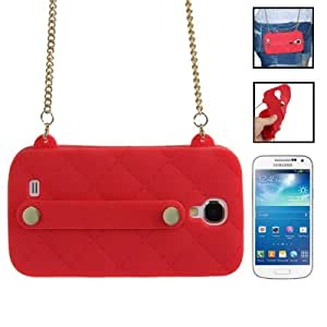 Lady Dual-use Bag Style Plaid Texture Silicon Case with Hand Strap for Samsung Galaxy S4 / i9500 (Red)
