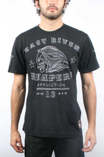 Affliction - Mens East River Reapers Triblnd T-Shirt in Black, Size: Small, Color: Black