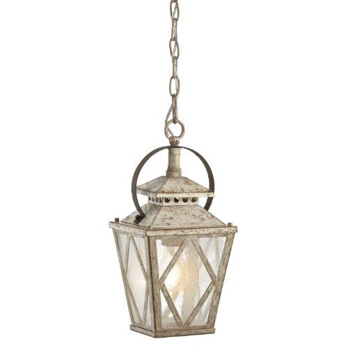 Kichler Lighting 43246DAW Hayman Bay 1-Light Pendant, Distressed Antique White Finish with Clear Seedy Glass