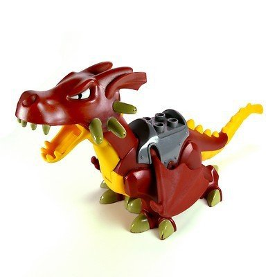 1 x Lego Duplo Tier Drache dunkel rot orange