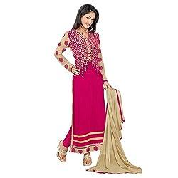 RajLaxmi Women's Fashion Pink Georgette Dress Material