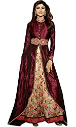 Sanjana Bollywood style Banglori Silk Party Wear Anarkali Suit in Maroon And Beige With Dupatta