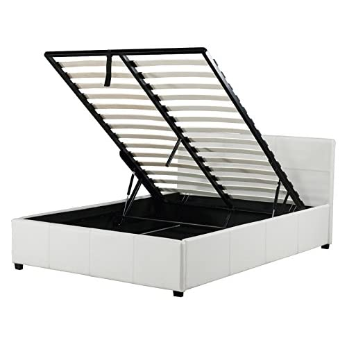 Caspian Ottoman Gas Lift Up Storage Bed - White 4ft Small Double