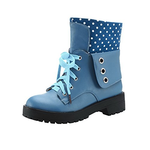 WeenFashion Women's Round Closed Toe Low-Heels Soft Material Low-top Polka-dots Boots, Blue, 36