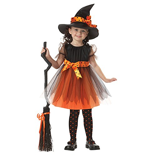 BlueVega Children Halloween Costume Party Fancy Dress with Hat for Girls