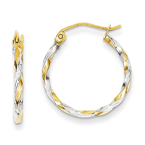 Twisted Hoop Earrings In Yellow Gold - 14Kt - Hinge With Notched - Astonishing