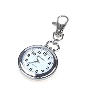 BestDealUSA Antique Alloy Big Round Key Ring Quartz Pocket Watch Chain