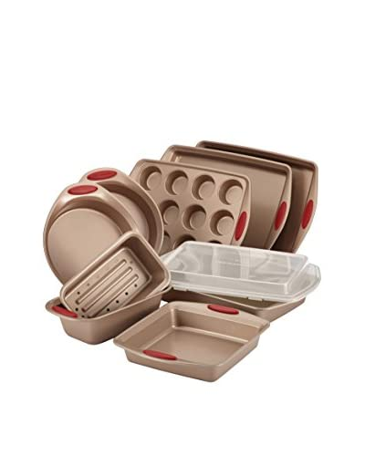 Rachel Ray 10-Piece Cucina Nonstick Bakeware Set, Latte Brown/Cranberry Red