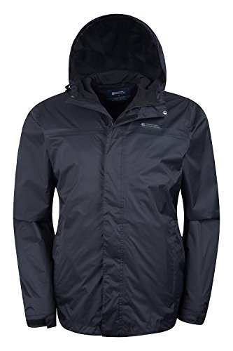 Mountain Warehouse Torrent Herren wasserdichte atmungsaktive jacke mantel mit Kapuze warme Outdoorjacke mantel Freizeit Sport Wander Walking Camping Schwarz X-Large -