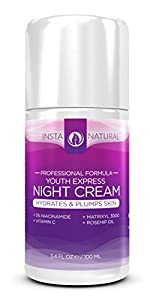 InstaNatural Night Cream Moisturizer Treatment for Face - with Vitamin C, Niacinamide (Vitamin B3), Matrixyl 3000, Rosehip Oil & Argan Oil - Hydrates & Plumps Skin, 3.4 Fluid Ounce