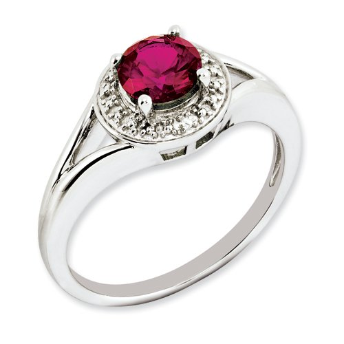 Sterling Silver Diamond & Created Ruby Ring