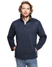 North Coast Knitted Effect Half Zip Fleece Top