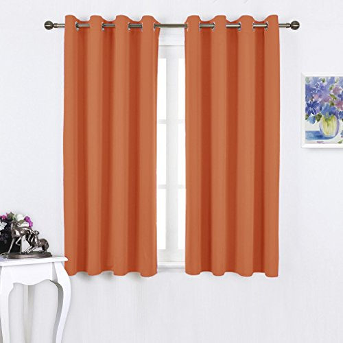 NICETOWN Triple Weave Microfiber Home Thermal Insulated Solid Ring Top Blackout Curtains / Drapes for Bedroom(Set of 2,52 x 63 Inch,Orange) (Bright Green Thermal Curtains compare prices)