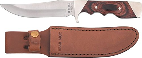 """Bear & Son Cutlery 277R Rosewood Trophy Hunter with Leather Sheath Knife, 9 1/4"""""""