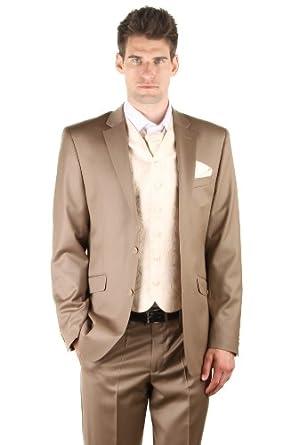 dymastyle hochzeit anzug 3 teilig super 150 dark beige beige 52 bekleidung. Black Bedroom Furniture Sets. Home Design Ideas
