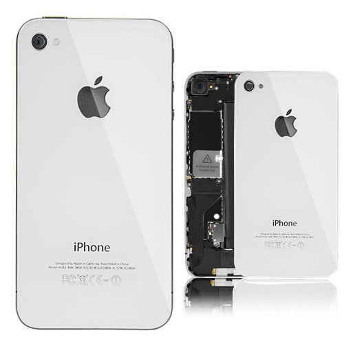 WHITE REAL GLASS iphone 4 AT&T Back Housing Back Cover Battery Replacement Door Glass. Full Housing with frame..