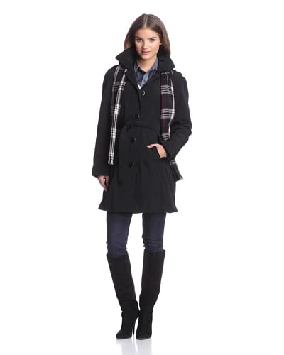 London Fog Women's Trench with Scarf  [Black]