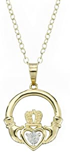 DiAura 14k Gold Plated Silver Diamond-Accent Claddagh Pendant Necklace