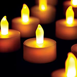 AGPtek® 6pcs Flickering Amber Yellow LED Tealight Candles for Decoration and Celebration - Coin Battery (included) Operated