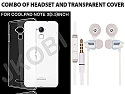 Jkobi Value Combo Of Soft Transparent Clear TPU Back Case Cover And In Ear Bud Earphones Mini Size Headset For Coolpad Note 3 (5.5 Inches) -White