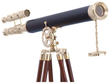 "Handcrafted Nautical Decor Floor Standing Brass/Leather Griffith Astro Telescope, 64"", Brass"