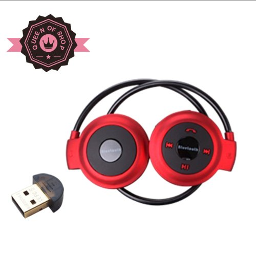 Queen Shop B503 Red Bluetooth Stereo Headphone For Music Stream & Handsfree Calling W/ 20 Hrs Extended Talk And Playback Time, 400 Hrs Standy Time, Built-In Mic, A2Dp, Avrcp Bluetooth Adapter As Gift