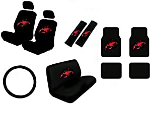 15 piece auto interior gift set scorpion red 2 front seat covers 2 front and 2. Black Bedroom Furniture Sets. Home Design Ideas