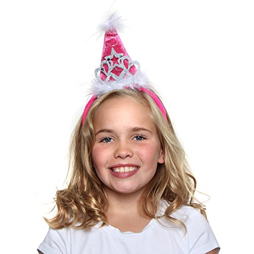 Girls Princess Tiara Cone Hat Headband, Hot Pink