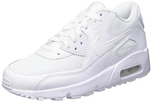 nike-air-max-90-mesh-gs-baskets-garcon-blanc-casse-bianco-white-whitewhite-white-38-eu