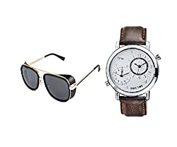 VESPL Elite combo of Cup Frame Black Sunglass & Dual Time analog Watch