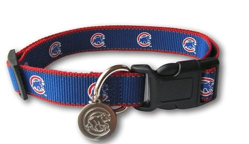 [Sporty K9 MLB Chicago Cubs Reflective Dog Collar, Small] (Cubs Fan Costume)