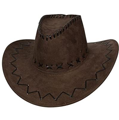 Deluxe Suede Cowboy Hat Unisex Fancy Dress Brown