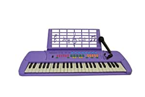 Purple 49 Keys  Keyboard  Electronic Digital Piano With Microphone & notes Holder - with AC Adapter & DirectlyCheap(TM) Translucent Blue Medium Pick