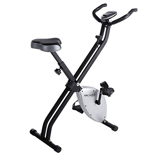 Ancheer Folding Magnetic Upright Bike Indoor Cycle Trainer Exercise w/ LCD Display