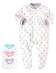 3 Pack Pure Cotton Spotted Sleepsuits