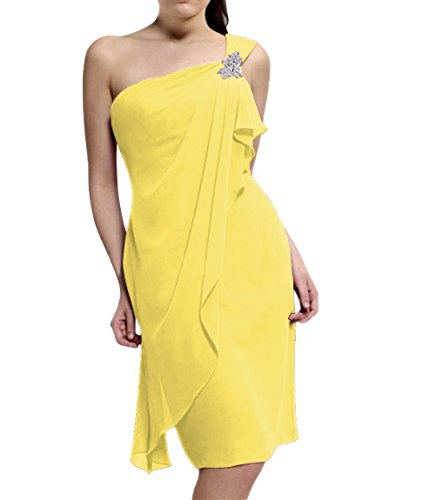 Huafeiwude Women's Knee Length One Shoulder Bridesmaid Evening Party Gown Dresses Yellow US 10