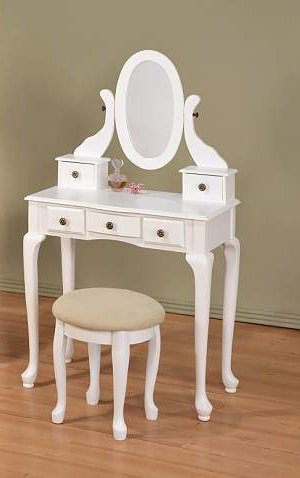 ABC New Queen Ann Vanity Set with Adjustable Mirror and Round Stool White Finish
