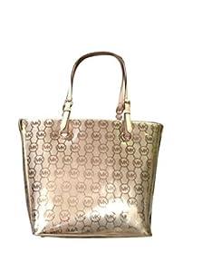 Michael Kors Logo Mirror Metallic Grab Bag Shoulder Tote Handbag Purse - Cocoa