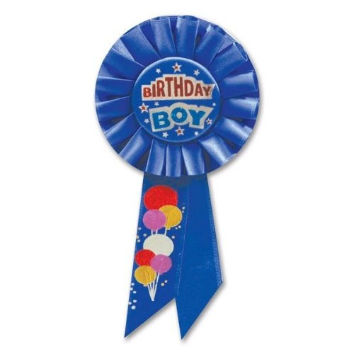 Beistle RS099 Birthday Boy Rosette, 3-1/4-Inch by 6-1/2-Inch