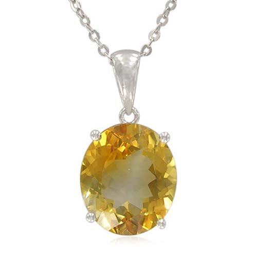 Sterling Silver Oval-Shaped Citrine Pendant Necklace , 18.5
