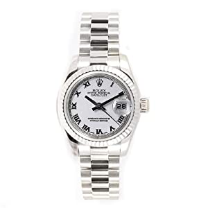 Rolex Ladys President New Style Heavy Band 18k White Gold Model 179179 Fluted Bezel White Roman Dial