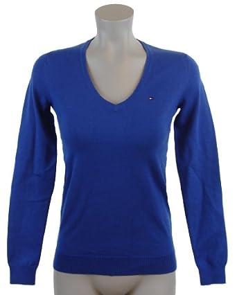 tommy hilfiger women logo v neck pullover sweater m. Black Bedroom Furniture Sets. Home Design Ideas