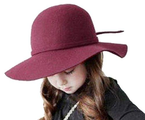 Kids Girl's Vintage Dome Wool Felt Bowler Cap Floppy Hat Bow,Dark Red (Kids Graduation Hat)