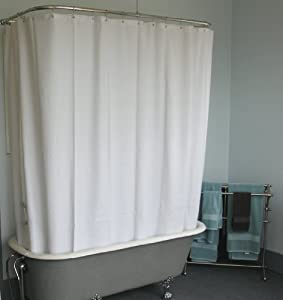 White Extra Wide Shower Curtain for Clawfoot Tub